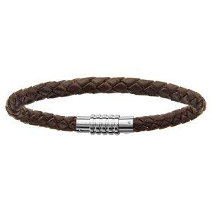 Bracelet en cuir marron tressé pour charms homme et fermoir en acier aimant et vis - longueur 23 cm - Vue 1
