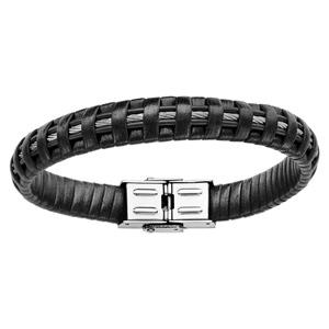 Bracelet en cuir noir avec câble en acier gris recouvert de lanières - longueur 21,5cm réglable - Vue 1