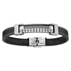 Bracelet en cuir noir avec coutures et plaque en acier ornée de quadrillages au milieu - longueur 21,5cm réglable - Vue 1