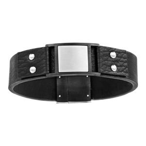 Bracelet en cuir noir avec élément noir orné d'une plaque carrée grise au milieu et fermoir aimanté - longueur 21cm