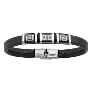 ... Bracelet en cuir noir avec méandres grecs sur 3 éléments en PVD noir au  milieu avec 5451b2e6bc1