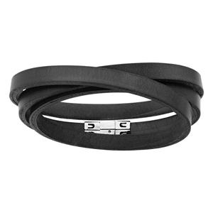Bracelet en cuir noir 1 brin plat qui fait plusieurs tours - longueur 58,50cm - Vue 1