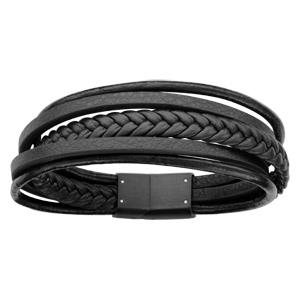 Bracelet en cuir noir plusieurs fils dont 1 tressé, 2 ronds et 2 plats et acier - longueur 20cm
