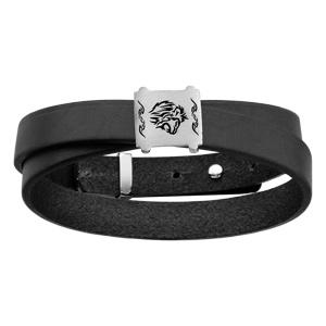 aea46947530 Bracelet en cuir noir ruban enroulé avec plaque en argent rhodié avec  gravure tête de lion
