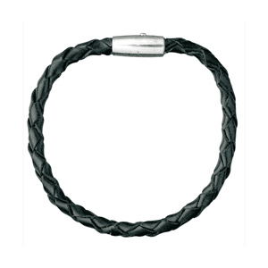 Bracelet en cuir noir tressé et fermoir acier - Vue 1