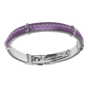 Bracelet en cuir violet avec boules et fermoir acier - Vue 1