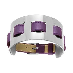 Bracelet en cuir violet large sur acier fermoir ceinture - Vue 1