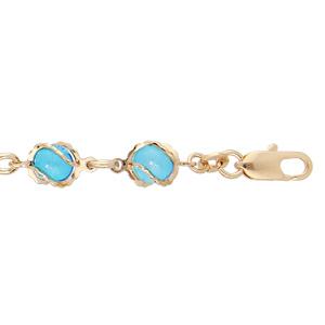 Bracelet en plaqué or avec perles couleur turquoise 16+3cm - Vue 1