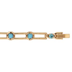 Bracelet en plaqué or avec perles turquoises de synthése 18cm - Vue 1