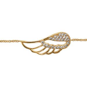 Bracelet en plaqué or chaîne avec aile d\'ange ajourée et ornée d\'oxydes blancs sertis - longueur 16cm + 2cm de rallonge - Vue 1