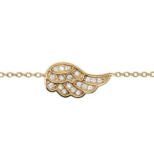 Bracelet en plaqué or chaîne avec au milieu 1 aile ornée d'oxydes blancs sertis - longueur 16cm + 2cm de rallonge