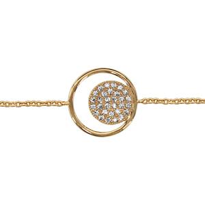 collier en plaqu or cha ne avec pendentif anneau avec rond pav d 39 oxydes blancs sertis l. Black Bedroom Furniture Sets. Home Design Ideas
