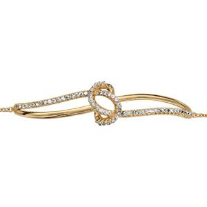 Bracelet en plaqué or chaîne avec au milieu 1 brin lisse et 1 rail d\'oxydes croisés avec noeud en oxydes blancs au milieu - longueur 16cm + 2cm de rallonge - Vue 1