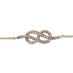 a52e22bbeeb92 ... Bracelet en plaqué or chaîne avec au milieu 1 noeud marin en oxydes  blancs sertis -