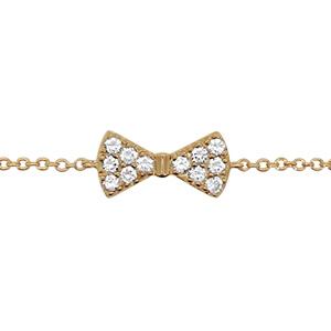 Bracelet en plaqué or chaîne avec au milieu 1 noeud papillon orné d\'oxydes blancs sertis - longueur 16cm + 2cm de rallonge - Vue 1