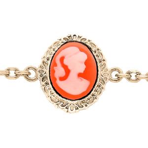 Bracelet en plaqué or chaîne avec Camée rose 16+3cm - Vue 1