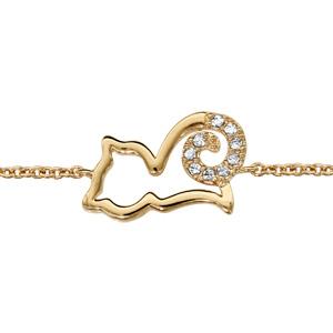 Bracelet en plaqué or chaîne avec chat ajouré stylisé avec queue ornée d\'oxydes blancs - longueur 16cm + 2cm de rallonge - Vue 1