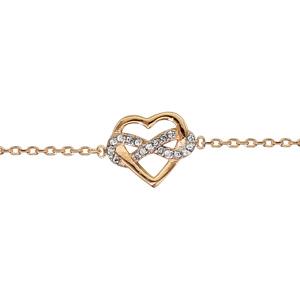 Bracelet en plaqué or chaîne avec coeur mêlé avec symbole infini oxydes blancs sertis 16cm + 2cm - Vue 1