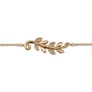 Bracelet en plaqué or chaîne avec feuillage lisse et oxydes blancs 16cm + 2cm - Vue 1