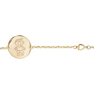 Bracelet en plaqué or chaîne avec galet gravé petit garçon - longueur 17cm + 3cm - Vue 1