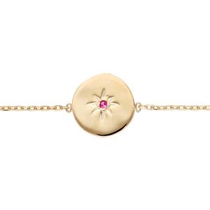 Bracelet en plaqué or chaîne avec médaille étoile oxyde rouge 16+3cm - Vue 1