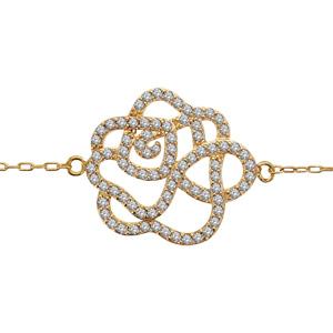 Bracelet en plaqué or chaîne avec motif fleurs - longueur 16+3cm - Vue 1