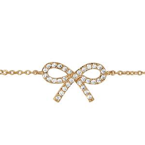 Bracelet en plaqué or chaîne avec noeud féminin orné d\'oxydes blancs au milieu - longueur 16cm + 2cm de rallonge - Vue 1