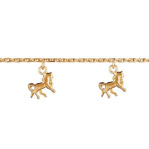 Bracelet en plaqué or chaîne avec pampilles cheval - Vue 1