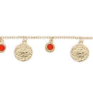 Bracelet en plaqué or chaîne avec pampilles pierres couleur corail et pastilles antiques 15+4cm - Vue 1