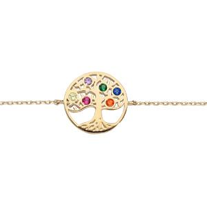 Bracelet en plaqué or chaîne avec pastille arbre de vie empierré multicolore 16+3cm - Vue 1