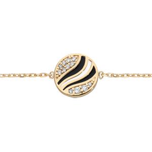 Bracelet en plaqué or chaîne avec pastille d\'oxydes blancs et noire et blanche 16+3cm - Vue 1