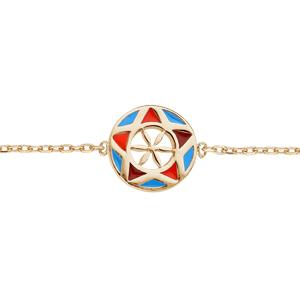 Bracelet en plaqué or chaîne avec pastille étoile colorée 16+3cm - Vue 1