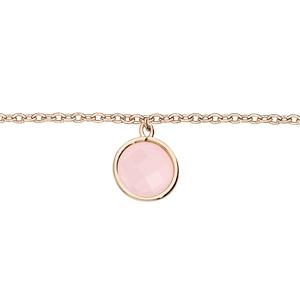Bracelet en plaqué or chaîne avec pierre facetée ronde serti clos couleur rose 16+2cm - Vue 1