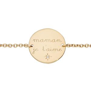 Bracelet en plaqué or chaîne avec plaque gravée \