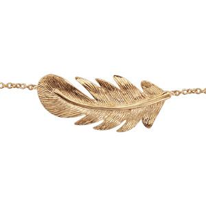 Bracelet en plaqué or chaîne avec plume longueur 15+2cm - Vue 1