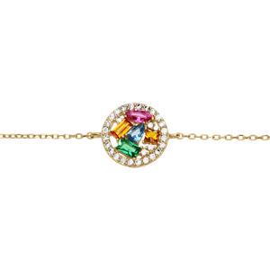 Bracelet en plaqué or chaîne avec rond contour oxydes blancs et pierres multi couleurs 16+3cm - Vue 1