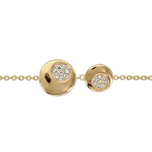 bracelet en plaqu or cha ne avec 2 ronds de taille diff rente avec avec rond orn d 39 oxydes. Black Bedroom Furniture Sets. Home Design Ideas