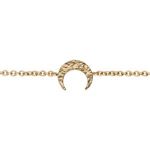Bracelet en plaqué or chaîne croissant de lune martelé 16+2cm - Vue 1
