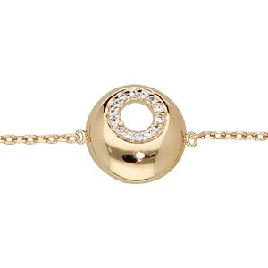 Bracelet en plaqué or chaîne et rond percé avec oxydes blancs sertis 16+2cm - Vue 1
