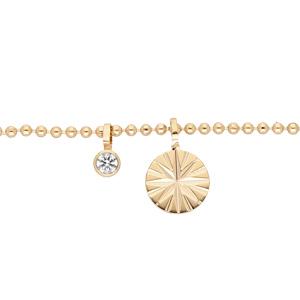 Bracelet en plaqué or chaîne ethnique avec pampille étoile et oxyde blanc 16+3cm - Vue 1