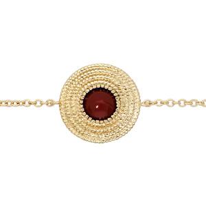 Bracelet en plaqué or chaîne ethnique rond avec pierre rouge 16+2cm - Vue 1