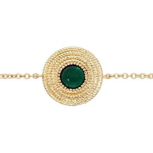 Bracelet en plaqué or chaîne ethnique rond avec pierre verte 16+2cm - Vue 1