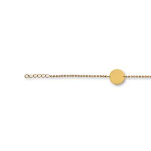 Bracelet en plaqué or chaîne maille boules avec plaque ronde à graver au milieu - longueur 18cm réglable - Vue 1