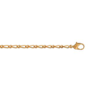 Bracelet en plaqué or chaîne maille figaro 1+1 largeur 2mm et longueur 18cm