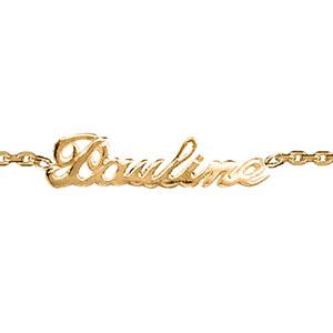 Bracelet en plaqué or chaîne maille forçat avec découpe anglaise 1 prénom - longueur 18,5cm réglable 17cm - Vue 1