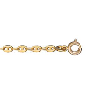 Bracelet en plaqué or chaîne maille grains de café largeur 3mm et longueur 18cm - Vue 1