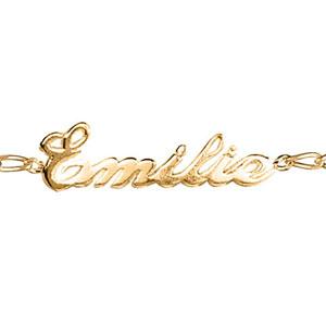 Bracelet en plaqué or chaîne mailles 1+1 largeur 2mm avec découpe anglaise 1 prénom - longueur 18,5cm réglable 17cm - Vue 1