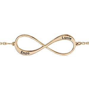 Bracelet en plaqué or chaîne symbole infini à graver 1 ou 2 prénoms - longueur 16cm + 3cm de rallonge - Vue 1