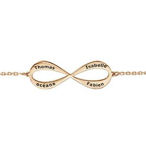 Bracelet en plaqué or chaîne symbole infini à graver 3 ou 4 prénoms - longueur 16cm + 3cm de rallonge - Vue 1