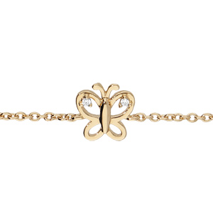 Bracelet en plaqué or enfant chaîne avec papillon ajouré oxydes blancs 13+4cm - Vue 1